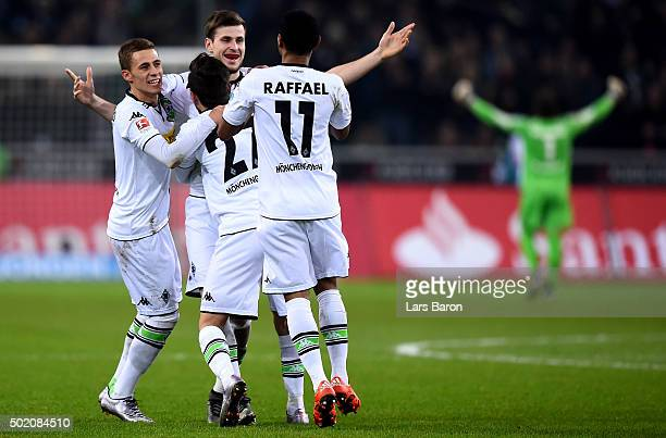 Havard Nordtveit of Moenchengladbach celebrates with team mates after scoring his teams second goal during the Bundesliga match between Borussia...