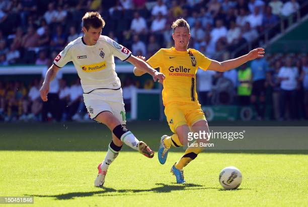 Havard Nordtveit of Moenchengladbach scores his teams second goal during the first round match of the DFB Cup between Alemannia Aachen and Borussia...
