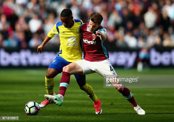 Havard Nordtveit of West Ham United and Ademola Lookman of Everton in action during the Premier League match between West Ham United and Everton at...