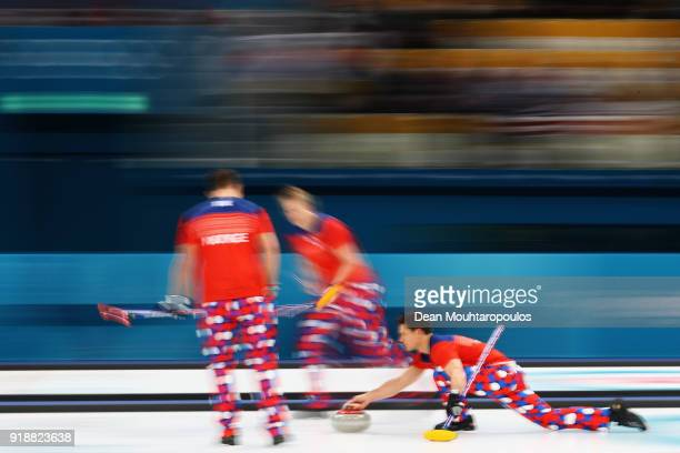 Havard Vad Petersson Christoffer Svae Thomas Ulsrud and Torger Nergard of Norway compete in the Curling Men's Round Robin Session 4 held at Gangneung...