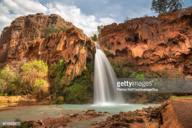 havasu waterfall in havasu canyon near indian village supai - supai stock photos and pictures