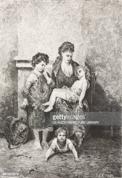 Have pity on me poor woman with children begging for help engraving from L'Illustrazione Italiana Year 5 No 43 October 27 1878