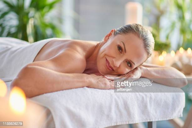 i have today reserved for total relaxation - one mature woman only stock pictures, royalty-free photos & images