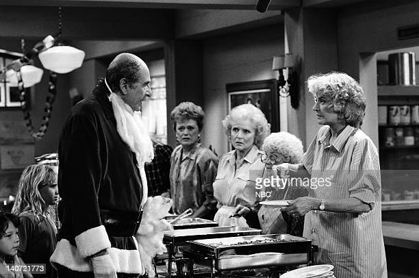 """Have Yourself a Very Little Christmas"""" Episode 12 -- Pictured: Herb Edelman as Stan Zbornak, Rue McClanahan as Blanche Devereaux, Betty White as Rose..."""