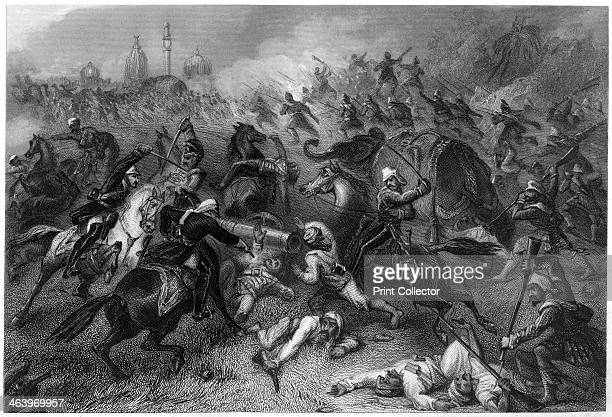 'Havelock's column attacking the mutineers before Cawnpore' . British military commander Henry Havelock leading his troops against the Indians during...
