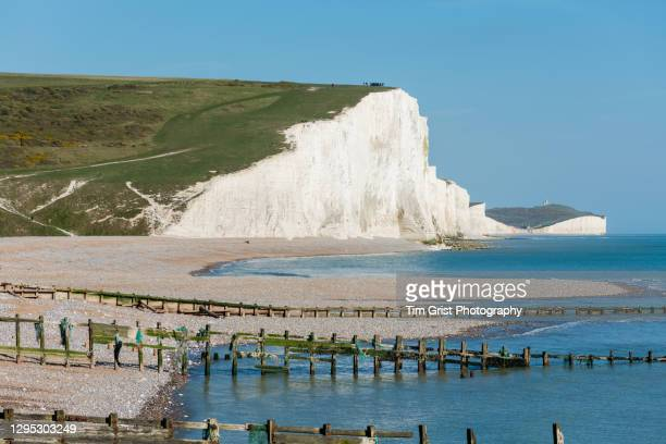 haven brow at cuckmere haven, part of the seven sisters cliffs, east sussex, uk - national park stock pictures, royalty-free photos & images