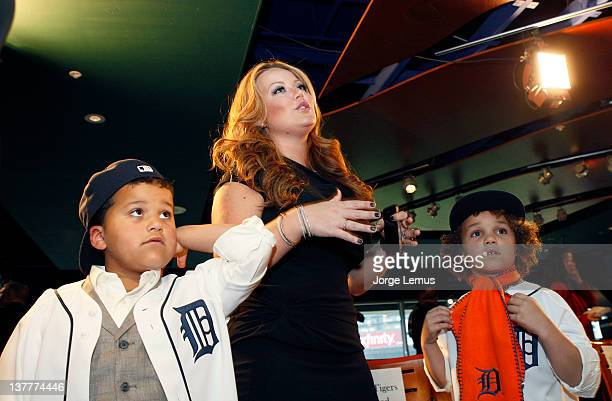 Haven Chanel and Jadyn Fielder during the press conference for Prince Fielder of the Detroit Tigers to announce his 9 year contract with the Tigers...