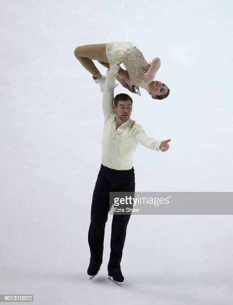 Haven Denney and Brandon Frazier compete in the Championship Pairs Short Program during Day 2 of the 2018 Prudential US Figure Skating Championships...