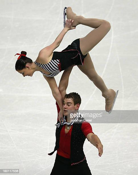 Haven Denney and Brandon Frazier compete in the Pairs Free Skate during the 2013 Prudential US Figure Skating Championships at CenturyLink Center on...