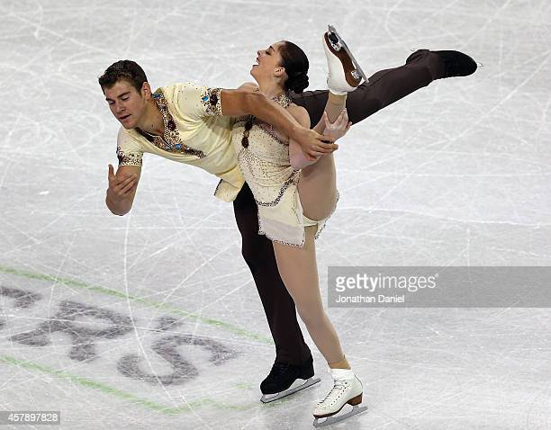 Haven Denney and Brandon Frazier compete in the Pairs Free Skating during the 2014 Hilton HHonors Skate America competition at the Sears Centre Arena...
