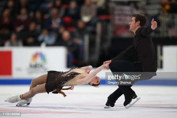 Haven Denney and Brandon Frazier compete in the senior pairs free skate during the 2019 US Figure Skating Championships at Little Caesars Arena on...