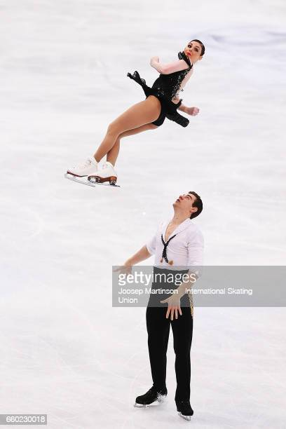 Haven Denney and Brandon Frazier of the United States compete in the Pairs Short Program during day one of the World Figure Skating Championships at...
