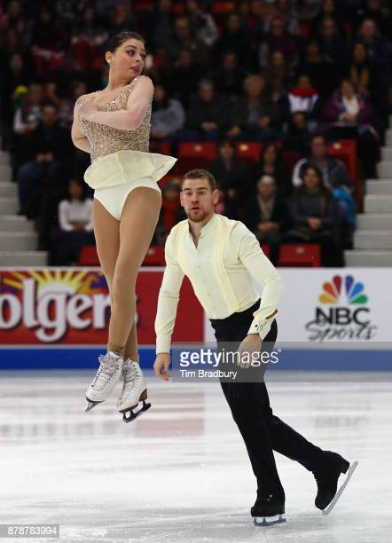 Haven Denney and Brandon Frazier of the United States compete in the Pairs Short Program during day one of 2017 Bridgestone Skate America at Herb...