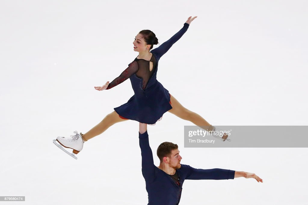 Haven Denney and Brandon Frazier of the United States compete in the Pairs Free Skating during day two of 2017 Bridgestone Skate America at Herb Brooks Arena on November 25, 2017 in Lake Placid, New York.