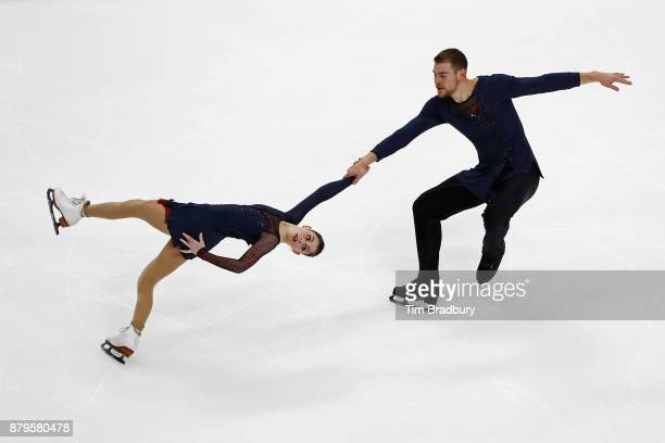 Haven Denney and Brandon Frazier of the United States compete in the Pairs Free Skating during day two of 2017 Bridgestone Skate America at Herb...