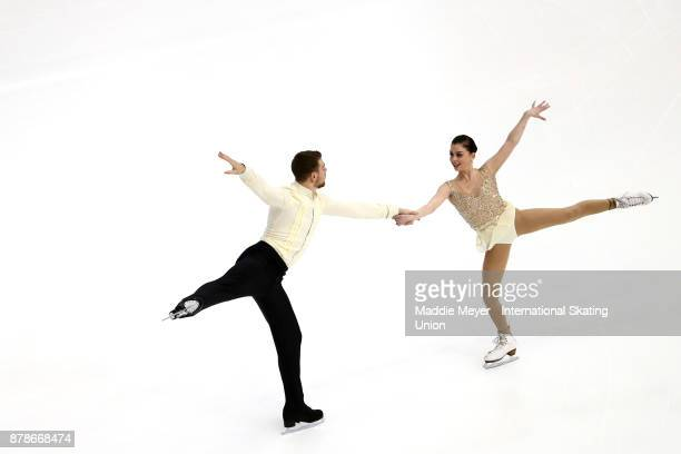 Haven Denney and Brandon Frazier of the United States perform during the Pairs Short program on Day 1 of the ISU Grand Prix of Figure Skating at Herb...