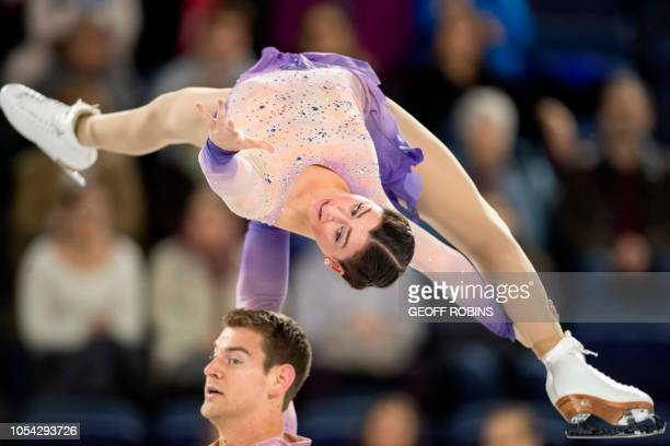 Haven Denney and Brandon Frazier of the United States perform their free skate during the pairs competition at the 2018 Skate Canada International...