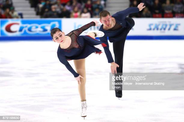 Haven Denney and Brandon Frazier of the United States perform their Pairs Free Skate program on Day 2 of the ISU Grand Prix of Figure Skating at Herb...