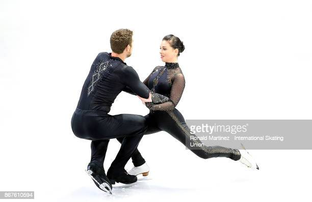 Haven Denney and Brandon Frazier of the United States practice pairs free skating during the ISU Grand Prix of Figure Skating at Brandt Centre on...