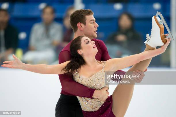 Haven Denney and Brandon Frazier of the United States skate their free program in the pairs competition at the 2018 Skate Canada Autumn Classic...