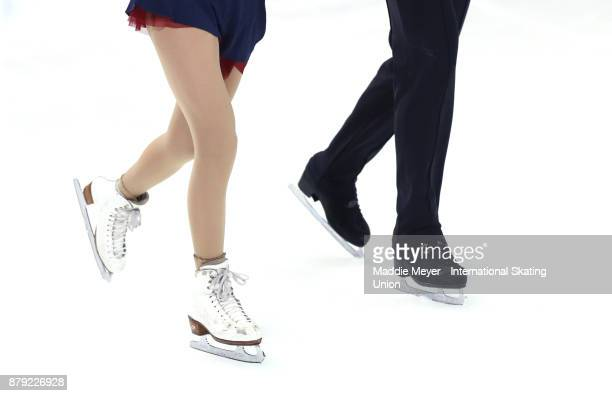 Haven Denney and Brandon Frazier of the United States warm up before their Pairs Free Skate program on Day 2 of the ISU Grand Prix of Figure Skating...