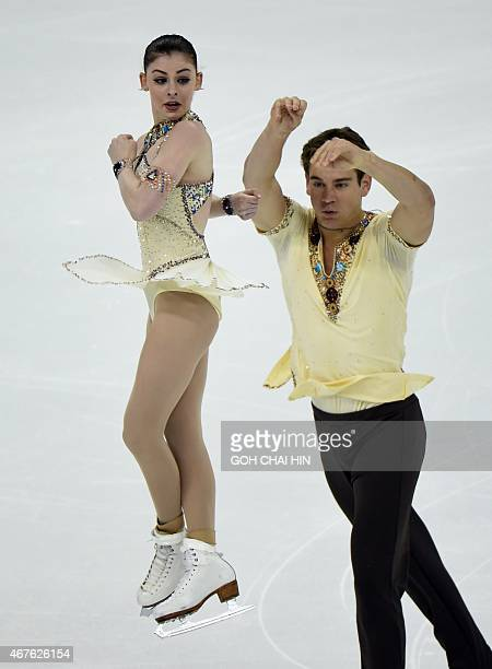 Haven Denney and Brandon Frazier of the US compete in the pairs free skating during the 2015 ISU World Figure Skating Championships at the Shanghai...