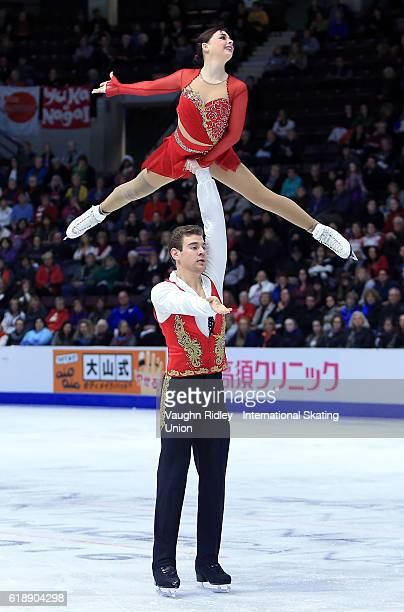 Haven Denney and Brandon Frazier of the USA compete in the Pairs Short Program during the ISU Grand Prix of Figure Skating Skate Canada International...