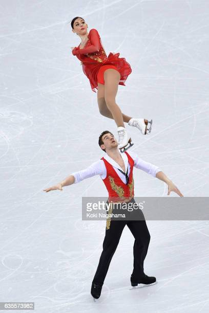 Haven Denney and Brandon Frazier of United States compete in the Pairs Short Program during ISU Four Continents Figure Skating Championships...