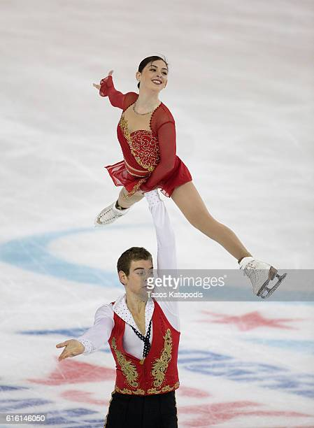 Haven Denney and Brandon Frazier of USA compete in the pairs short program at 2016 Progressive Skate America on October 21 2016 in Chicago Illinois