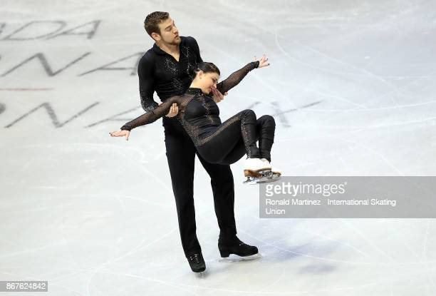 Haven Denney and Brandon Frazier of USA perform in the pairs free skating during the ISU Grand Prix of Figure Skating at Brandt Centre on October 28...