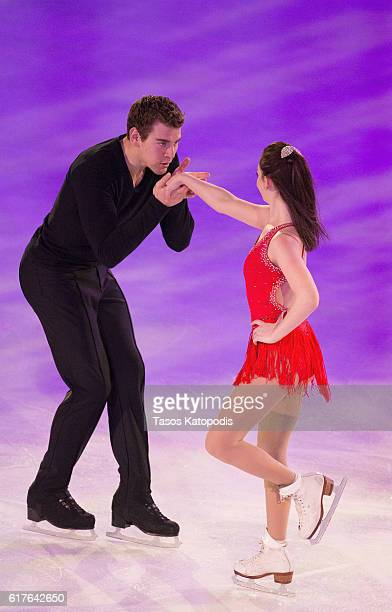 Haven Denney and Brandon Frazier of USA preforms at the Smucker's Skating Spectacular at 2016 Progressive Skate America at Sears Centre Arena on...