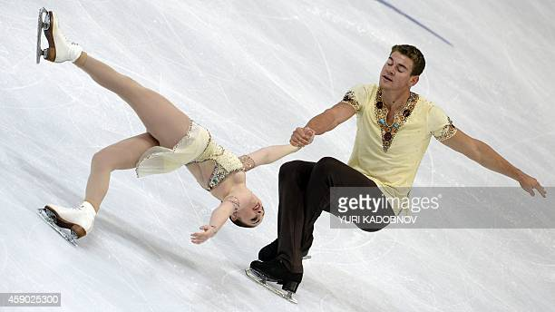 US Haven Denney and Brandon Frazier perform during their pairs free skating at the ISU Grand Prix Figure skating Rostelekom Cup in Moscow on November...