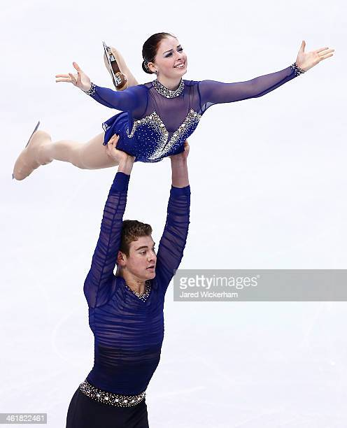Haven Denney and Brandon Frazier skate in the pairs free skate during the 2014 Prudential US Figure Skating Championships at TD Garden on January 11...