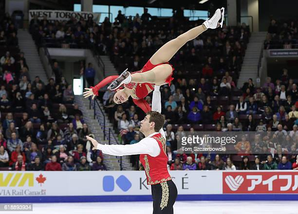 Haven Denney of the United States and Brandon Frazier compete in the Pairs Short Program during day one of the 2016 Skate Canada International at...
