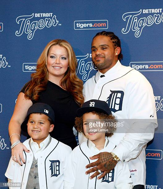 Haven Jadyn Chanel and Prince Fielder of the Detroit Tigers pose after a press conference to announce his 9 year contract with the Tigers at Comerica...