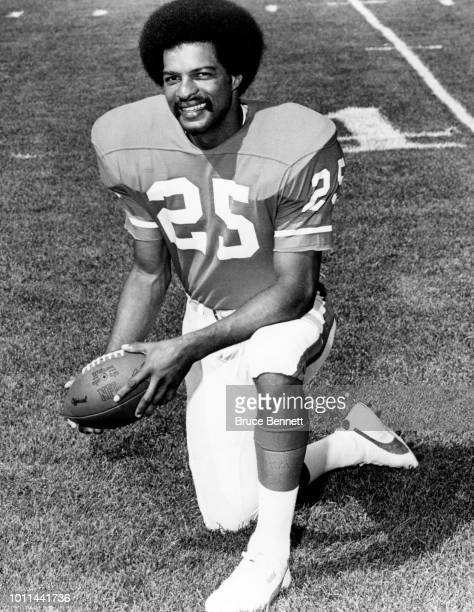 Haven Moses of the Denver Broncos poses for a portrait with an official NFL football circa 1975