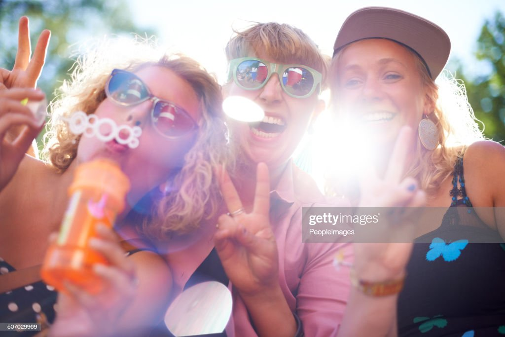 Having a ball with bubbles! : Stock Photo
