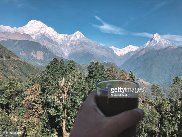 having a hot chocolate with a view - annapurna south stock pictures, royalty-free photos & images