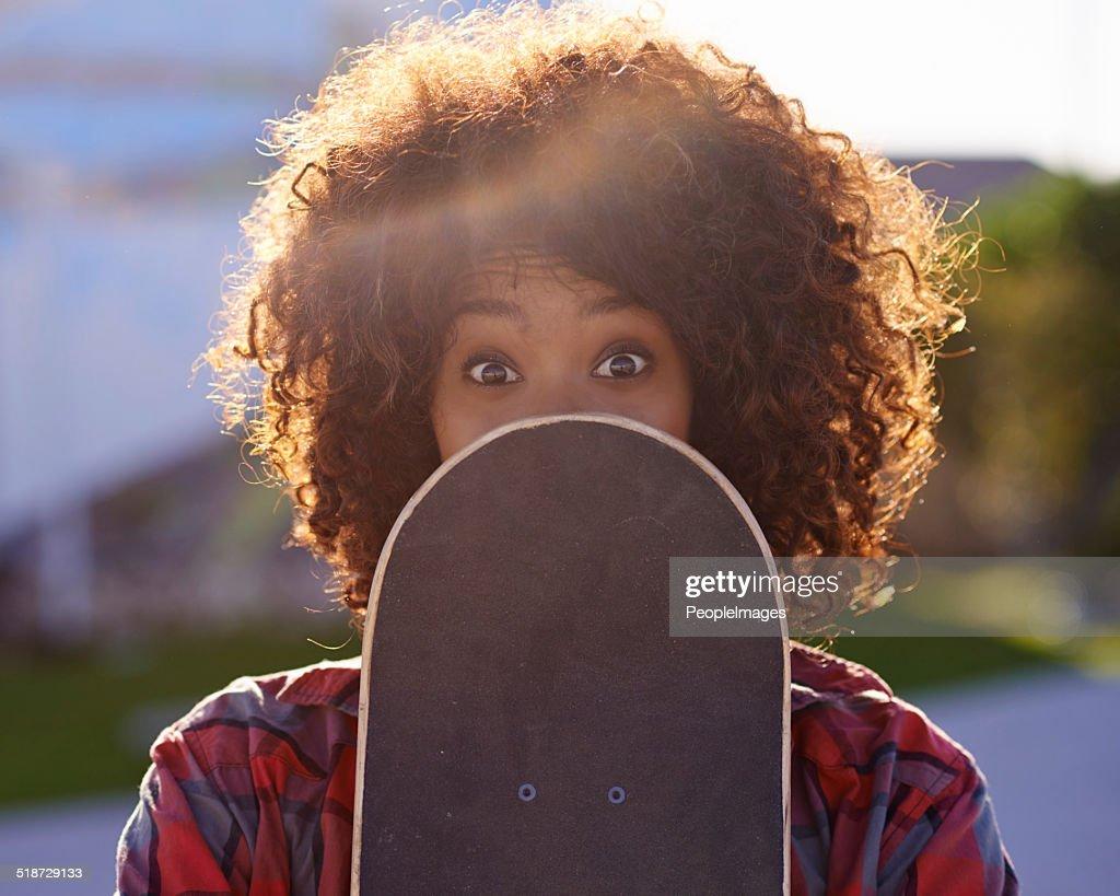 Com um pouco de diversão no Parque de skate : Foto de stock