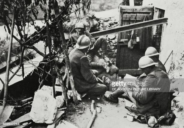 Having a pause in the Italian trenches at the foot of Mount Coni Zugna during the Battle of the Plateaux Italy World War I from L'Illustrazione...
