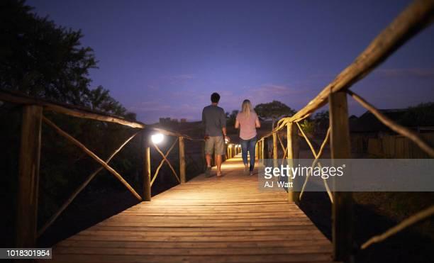 having a romantic walk on the bridge at night - night safari stock pictures, royalty-free photos & images