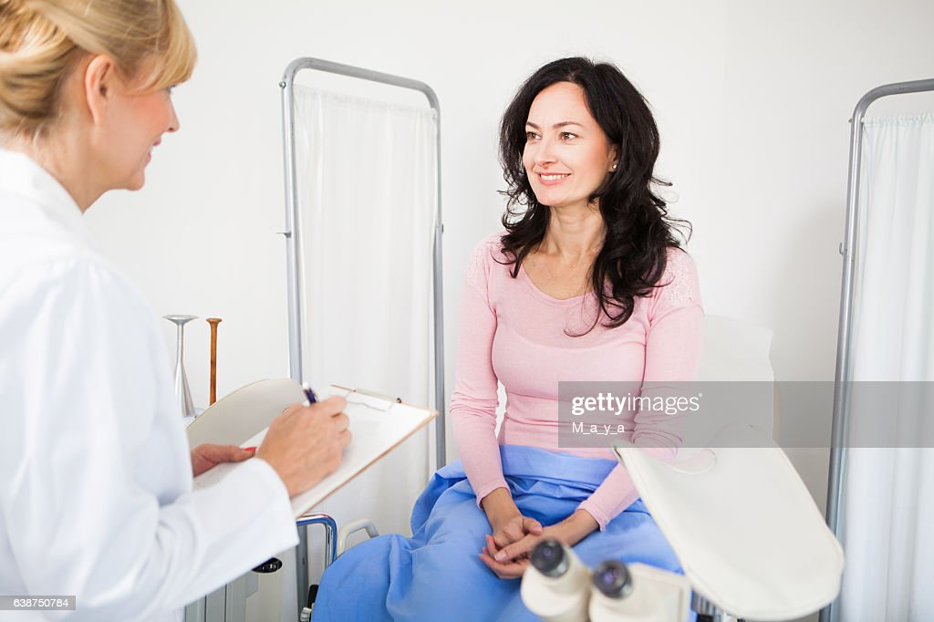 Having advise with a gynecologist : Stock Photo