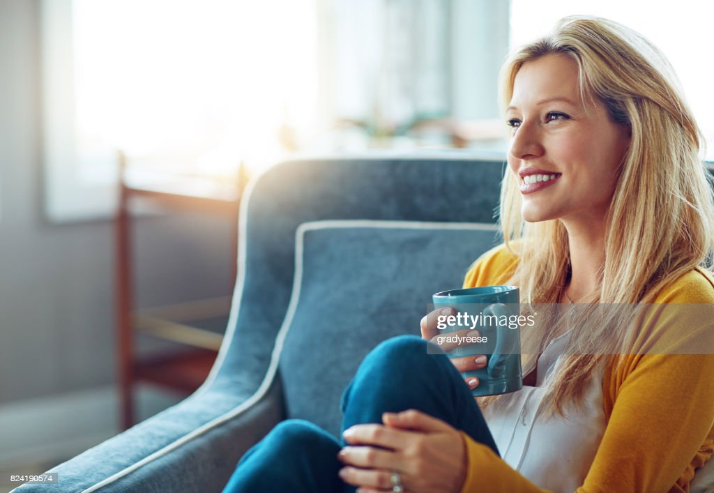 Having coffee in my favorite cup : Stock Photo