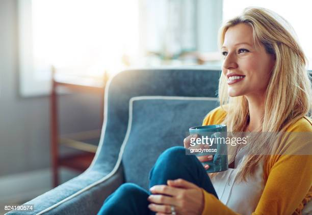 having coffee in my favorite cup - happy stock photos and pictures