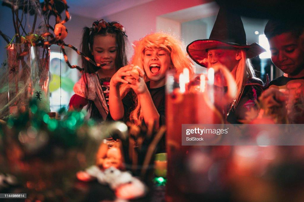 Having Fun at a Halloween Party : Stock Photo