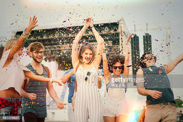having fun at concert. - music festival stock pictures, royalty-free photos & images