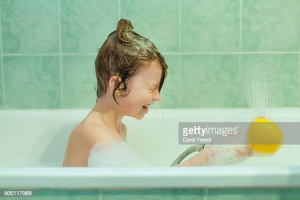 Having  fun in the bathtube