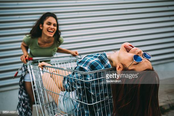 Having fun on a shopping cart