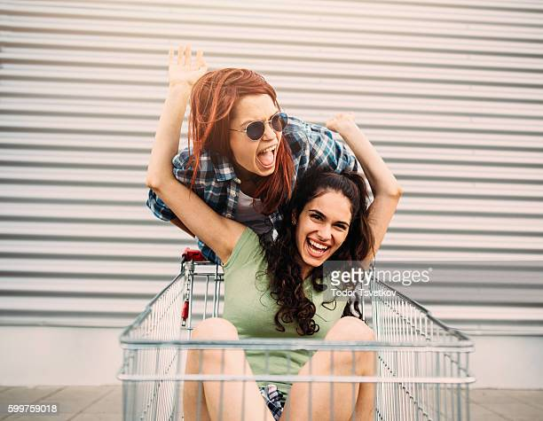 Having fun on a shopping cart