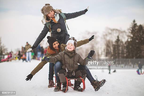 Having fun on snow